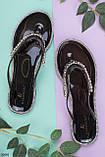 Жіночі чорні шльопанці зі стразами силікон, фото 4