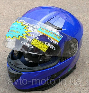 Шлем с очками синий, черны, красный