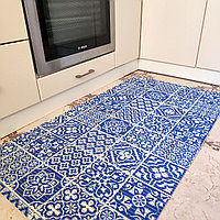 Коврик на метраж ширина 65 см Голубая Плитка для Ванной Туалета Кухни Коридора Дорожка Аквамат