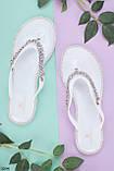 Жіночі шльопанці білі зі стразами силікон, фото 6