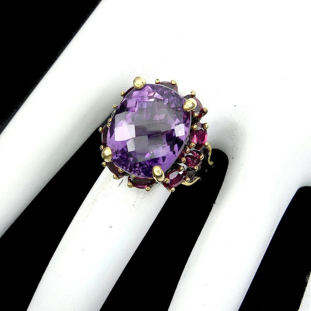 Серебряное кольцо Аметист Гранат Размер 19