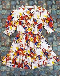 Летнее платье для девочки  цветочный принт на белом  на рост 134,140,146,152 146