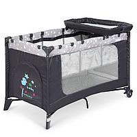 Детский складной манеж-кровать с пеленальным столиком El Camino ME 1054 SAFE PLUS Stars Gray