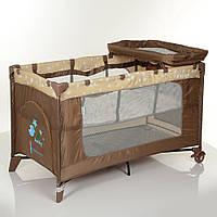 Детский складной манеж-кровать с пеленальным столиком El Camino ME 1054 SAFE PLUS Stars Beige