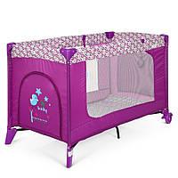 Детский складной манеж-кровать El Camino ME 1016 SAFE Purple Flowers
