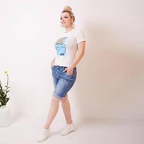 Джинсовые шорты на пуговицах с отворотом,  Джинсовые шорты большие размеры, Женские джинсовые шорты больших размеров