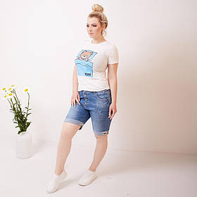 Джинсовые шорты на пуговицах с отворотом норма+батал,  Джинсовые шорты большие размеры, Женские джинсовые шорты больших размеров