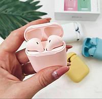 Беспроводные Bluetooth сенсорные наушники  i12 розовые с кнопкой
