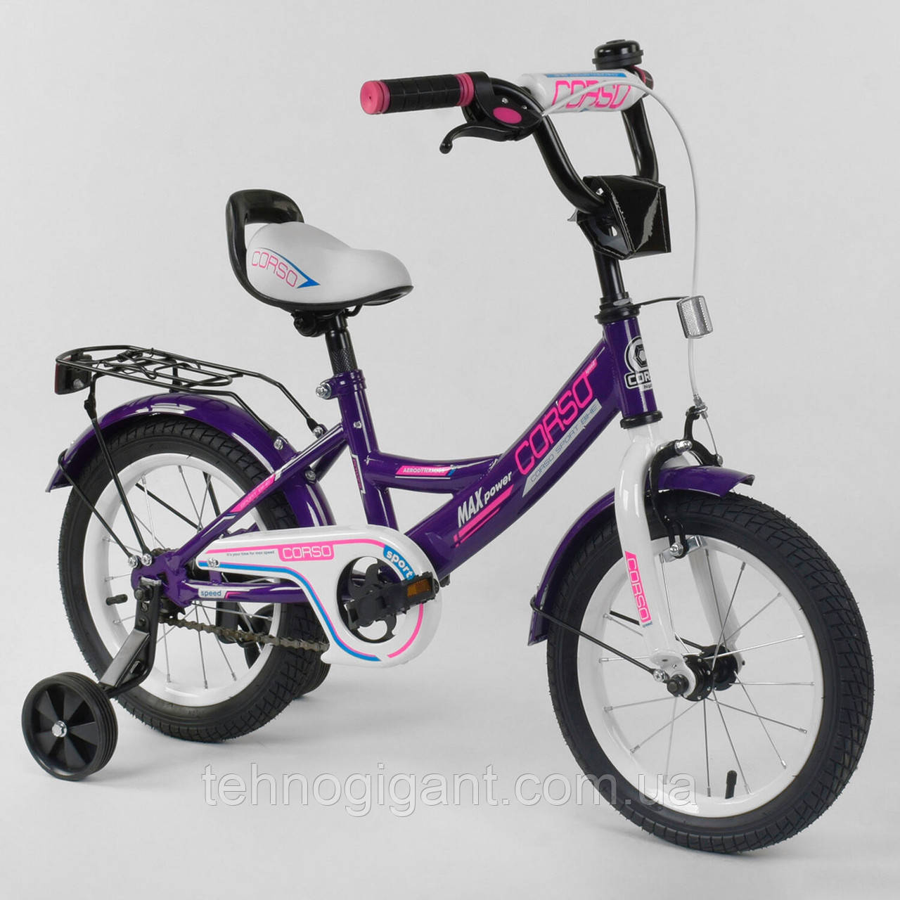 """Велосипед 14"""" дюймов 2-х колёсный """"CORSO""""  Фиолетовый, ручной тормоз, звоночек, сидение с ручкой, доп. колеса"""