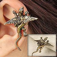 Серьга каффа дракон на одно ухо Цвет золото Бижутерия в форме дракон, фото 1
