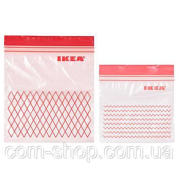Пакет закрывающийся IKEA, емкость для хранения пищевых продуктов, набор 60 шт, красный