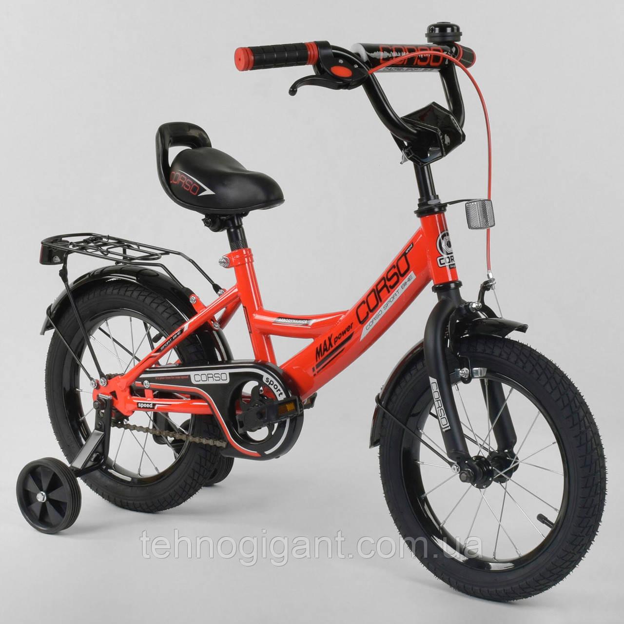"""Велосипед 14"""" дюймов 2-х колёсный """"CORSO""""  Красный, ручной тормоз, звоночек, сидение с ручкой, доп. колеса"""