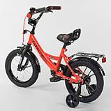 """Велосипед 14"""" дюймов 2-х колёсный """"CORSO""""  Красный, ручной тормоз, звоночек, сидение с ручкой, доп. колеса, фото 3"""