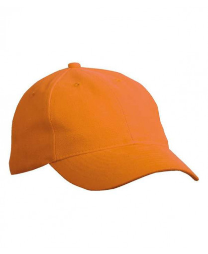 Летняя коттоновая шестипанельная кепка с металлической застежкой оранжевая