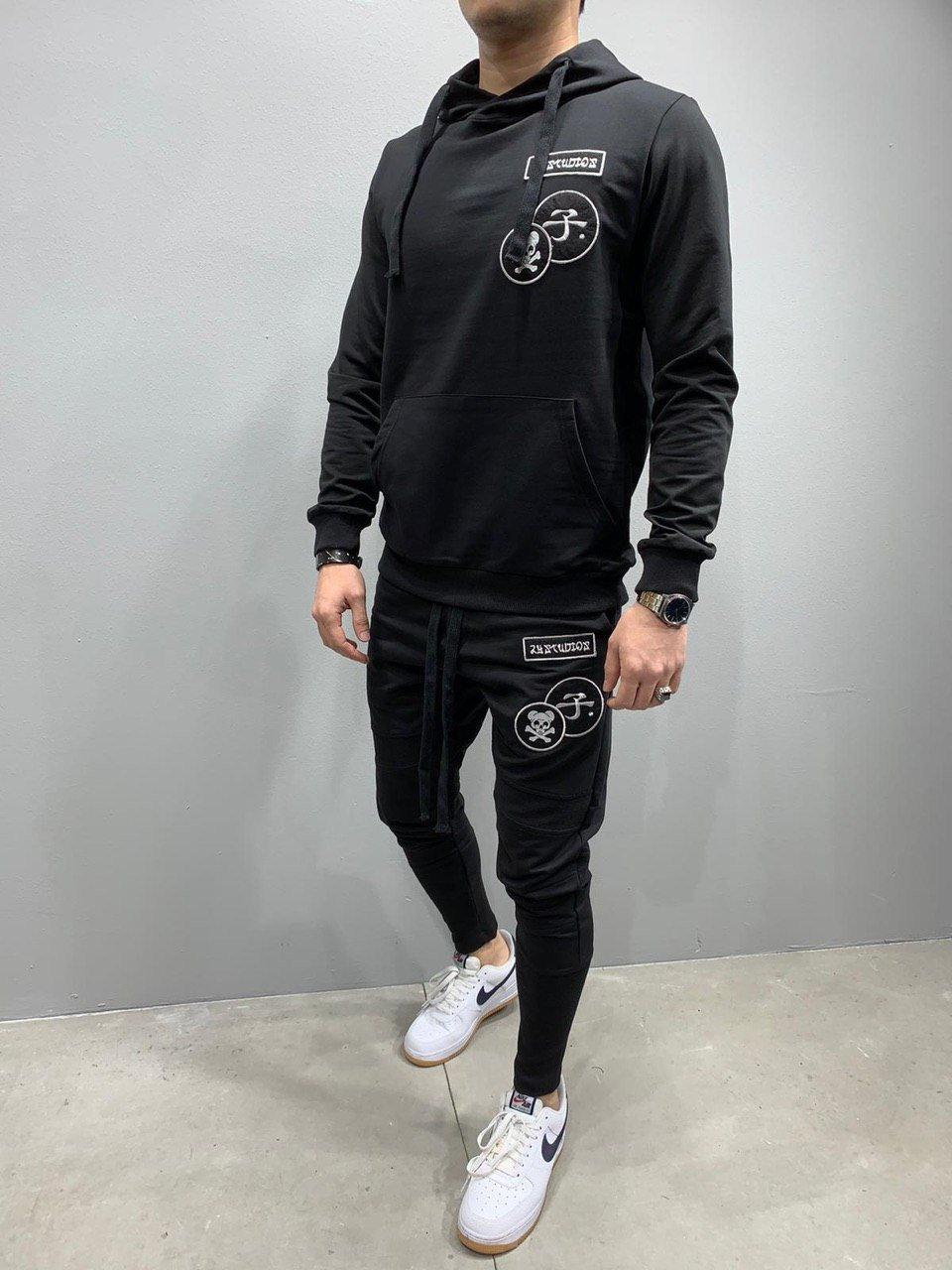 Хлопковый мужской летний спортивный костюм 2Y Premium черный - M, L, XL
