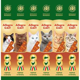 Колбаски B&B Allegro Cat со вкусом курицы и печени, 6 х 5 г