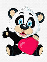 """Детская картина по номерам на холсте """"Панда с сердцем"""" 30х40, 2 уровень сложности"""
