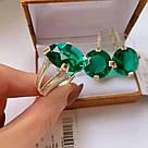 Гарнитур в серебре с масивными зелёными цирконами Кристал, фото 2