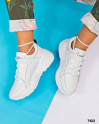 Женские белые кроссовки натуральная кожа