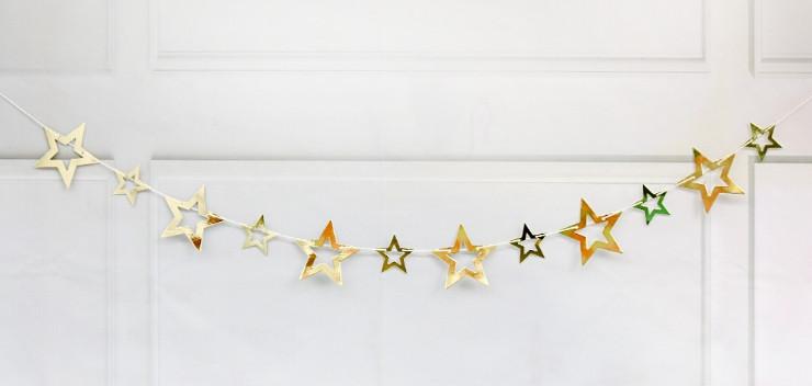 Бумажная гирлянда Звёзды золото двойная 1,5 метра
