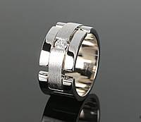 Широкое женское кольцо из белого золота 585 пробы с бриллиантом
