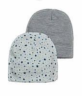 Хлопковая шапочка для новорожденных с принтом 56-68 р