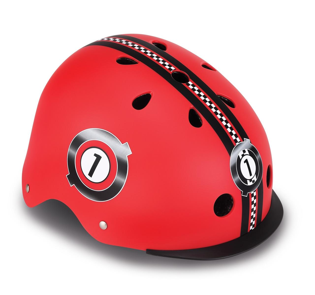 Шлем защитный детский Globber Гонки красный, с фонариком, 48-53см (507-102)