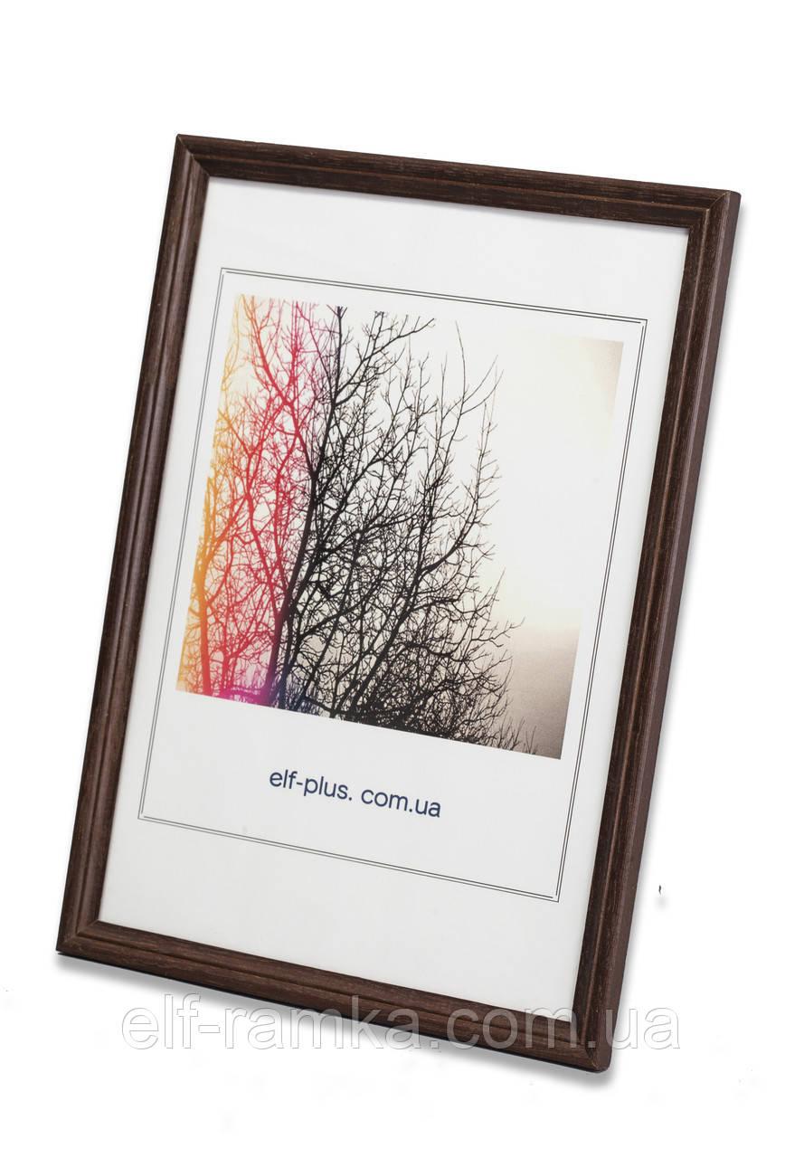 Рамка 25х25 из дерева - Дуб тёмно-коричневый 1,5 см - со стеклом