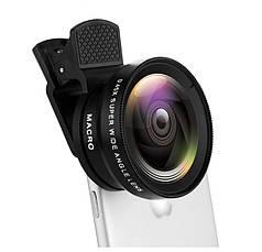 Объектив оптика широкий + макро линза для iphone смартфона черная 2в1
