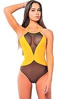 Сдельный купальник Katrin 821-IndianYellow, желтый с сеткой XS, фото 1