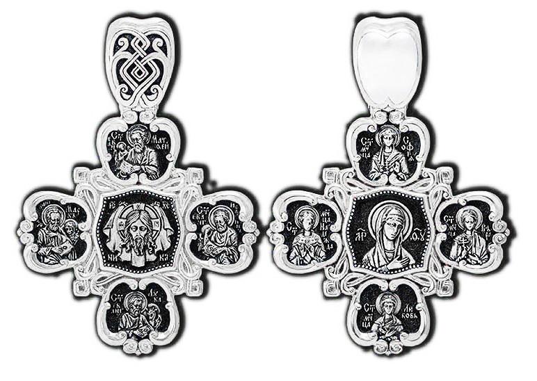 Крест  Спас Нерукотворный Евангелисты Марк Матфей Иоанн Лука Икона Божией Матери Скоропослушница Святые 8845