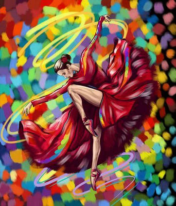 """Картина по номерам """"Яркий танец"""" укр KpN-01-05U"""