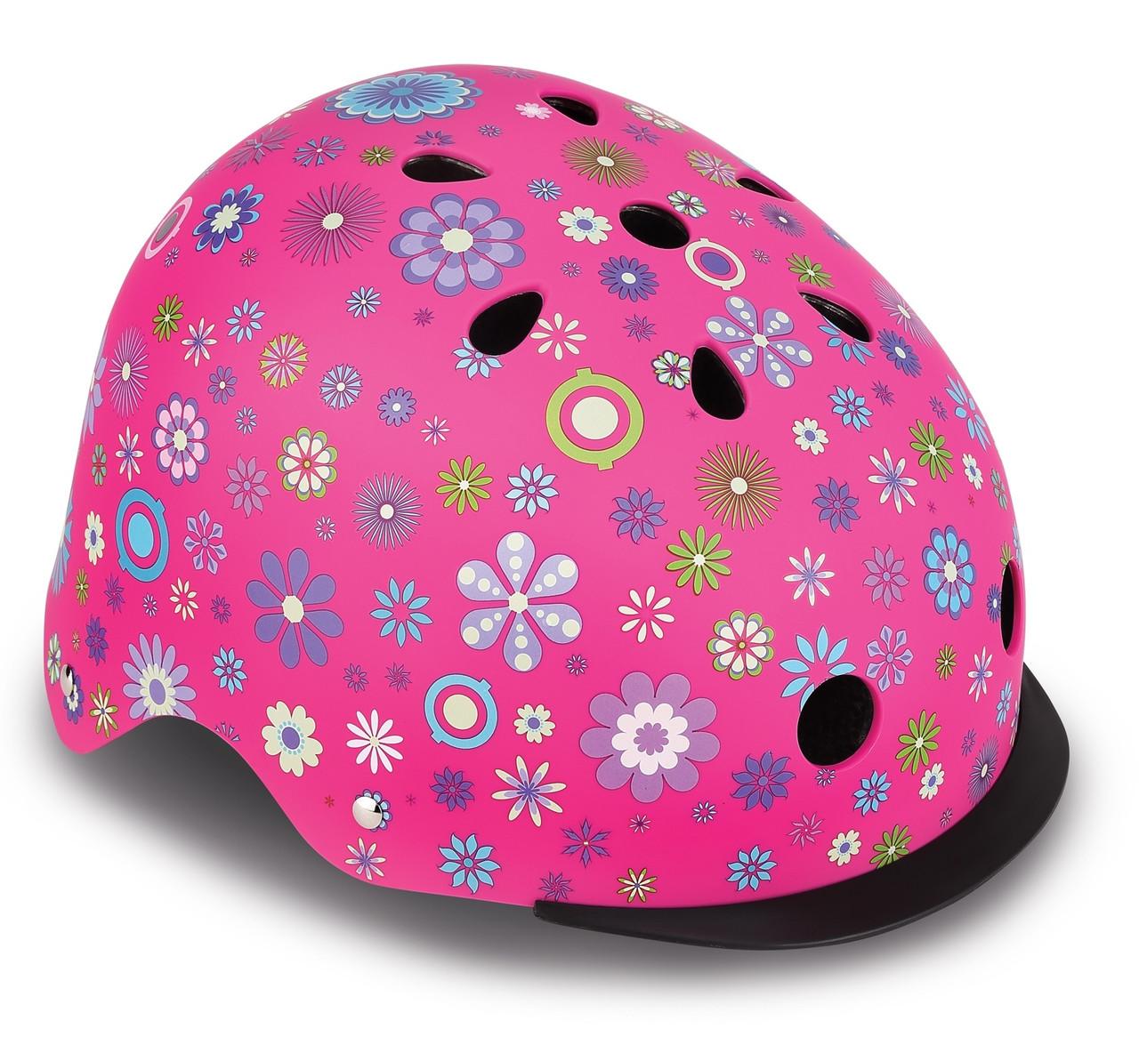 Шлем защитный детский Globber Цветы, с фонариком, 48-53см XS/S (507-110)