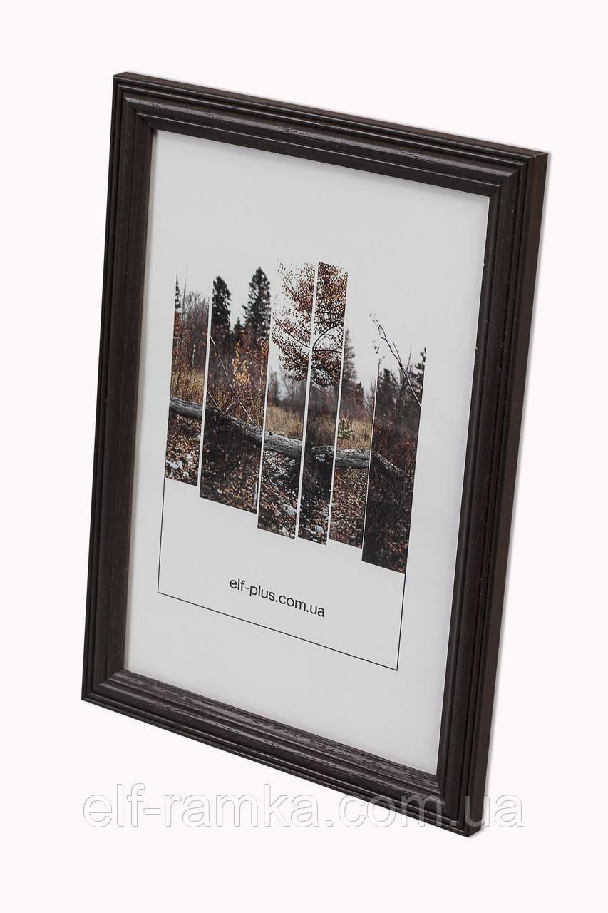 Рамка 25х25 из дерева - Дуб коричневый тёмный 2,2 см - со стеклом