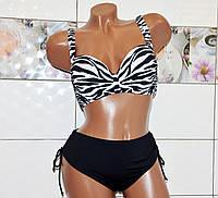 54 размер! Эффектный черно-белый раздельный купальник для современных женщин с узором зебра, чашка D
