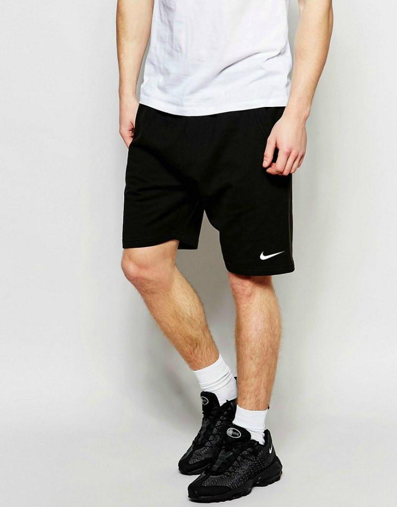 Шорты Nike чёрные трикотажные белая галочка