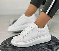 Женские белые кроссовки на платформе, копия известного бренда, ОВ 1308, фото 1