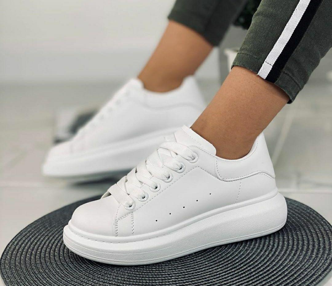 Женские белые кроссовки на платформе, копия известного бренда, ОВ 1308