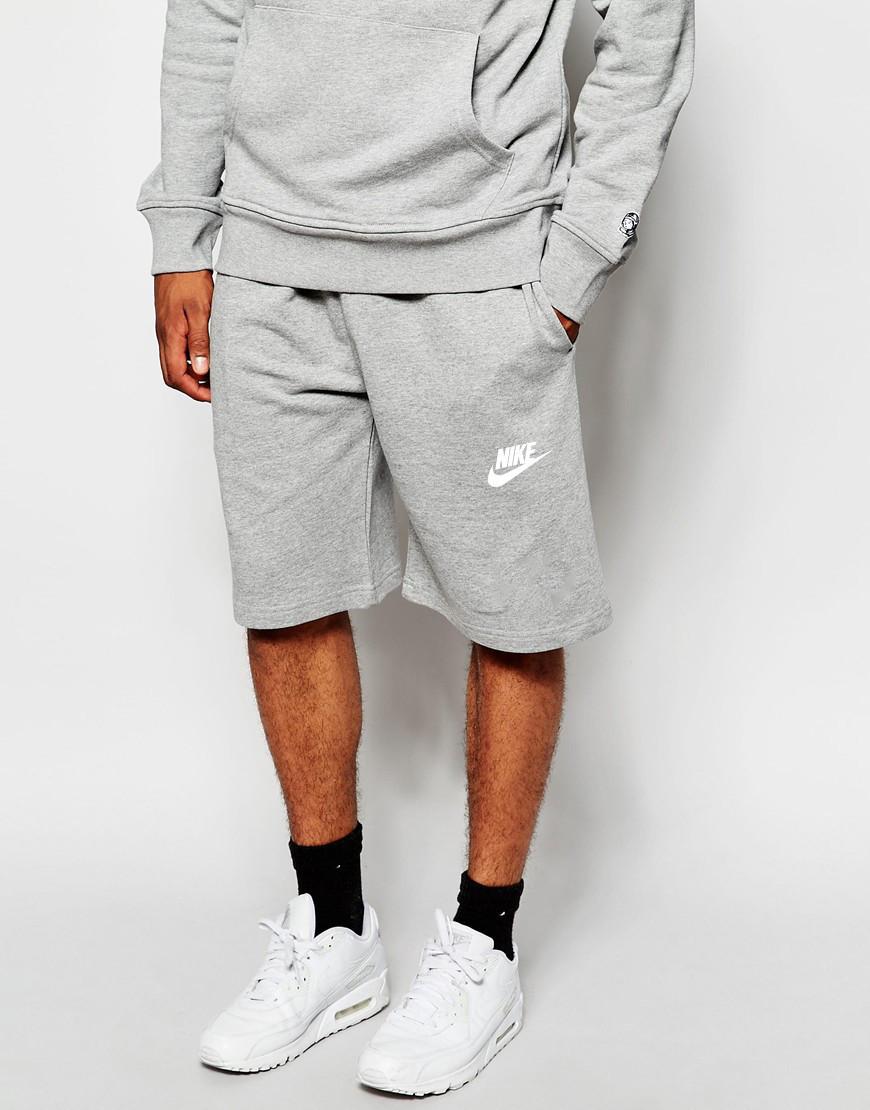 Шорты мужские Nike серые лого + имя белые