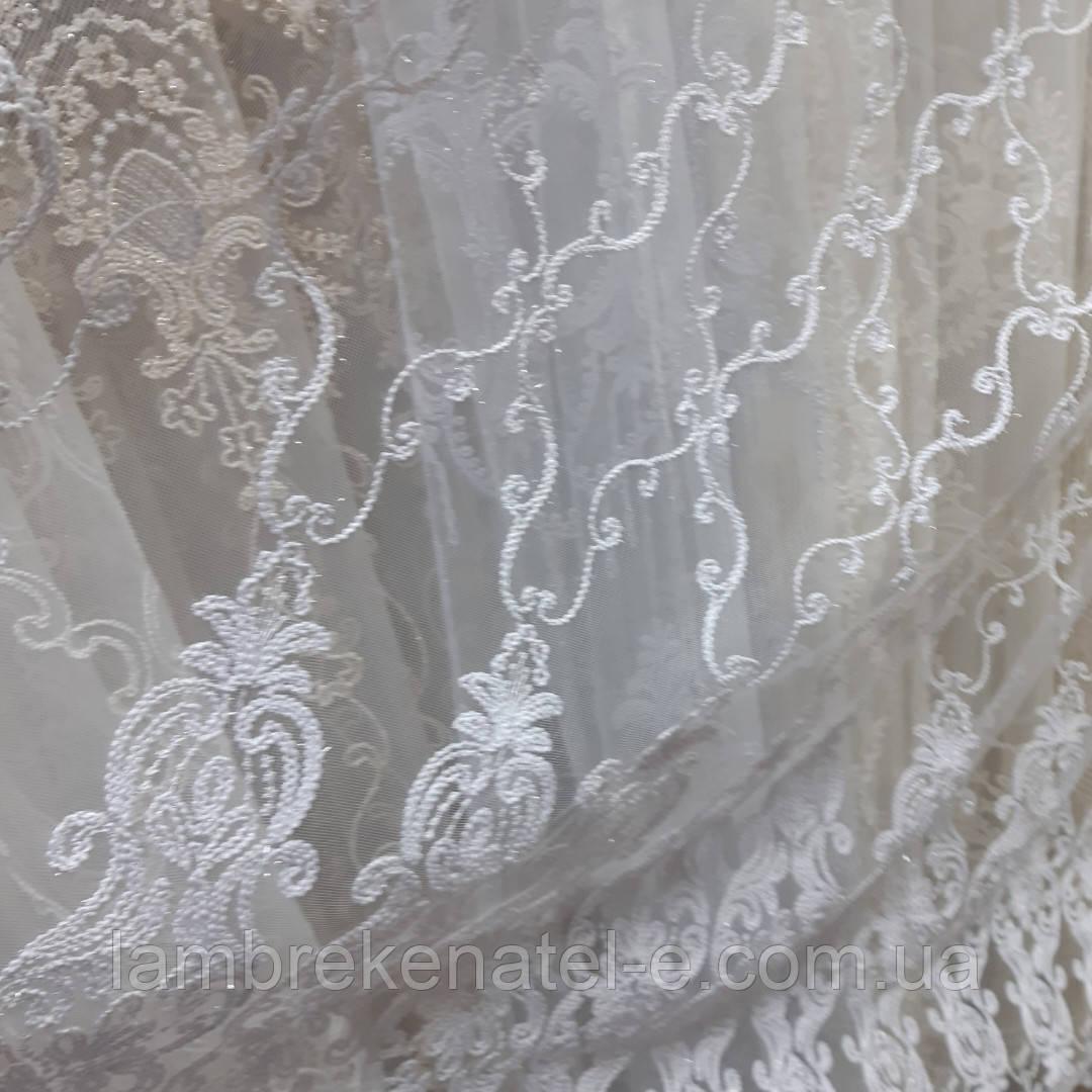 Гардина в гостиную, с белой кордовой вышивкой на фатиновой сетке