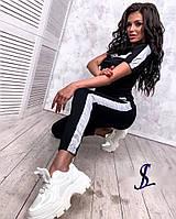 Спортивний костюм жіночий 437 (42-44, 46-48) кольори: беж,чорний, персик) СП, фото 1
