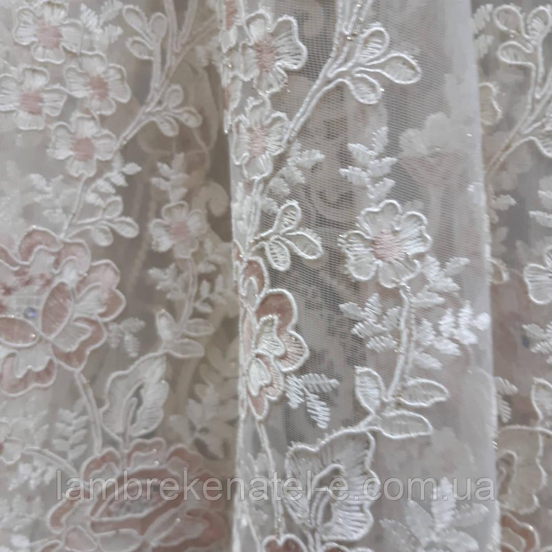 Гардина с бархатной вышивкой в зал спальню