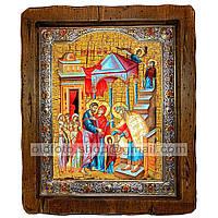 Икона Введение во Храм Пресвятой Богородицы (с посеребренной рамкой 210х250мм)