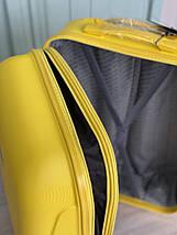 Средний пластиковый чемодан с расширителем желтый Wings, фото 3