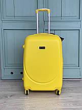 Средний пластиковый чемодан с расширителем желтый Wings, фото 2