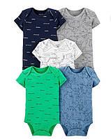 """Набор боди Картерс (5 шт) бодики для мальчиков с коротким рукавом """"Динозаврики"""" бодики Carter's хлопковые"""