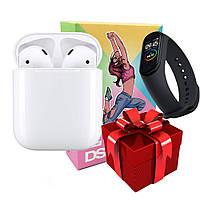 """Беспроводные наушники DS 200 Bluetooth v5.0 Белые + ПОДАРОК \""""Фитнес браслет Band 4\"""""""
