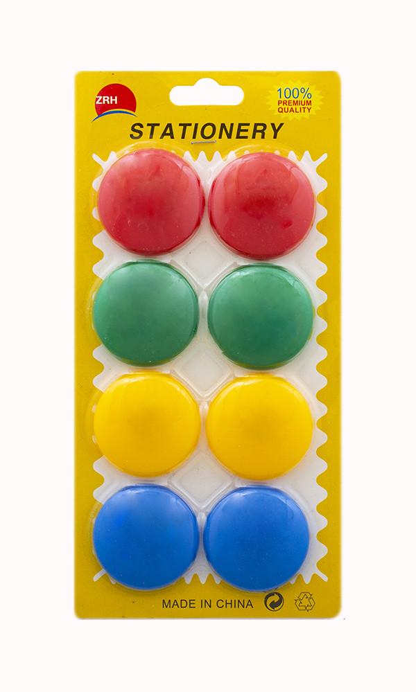Набор магнитов для доски 8 штук d=40 мм.цветные 2059