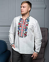 """Сочочка вишита чоловіча білий льон короткий рукав """"Борщівські барви"""", фото 1"""