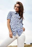 Прямая женская летняя рубашка с коротким рукавом и цветочным принтом (1341.4150-4141-4152 svt)